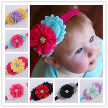 2016 baby newborn infant headbands chiffon flowers combination children fabric flowers for headbands girls hair accessories