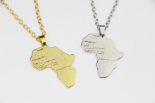 ZRM Fashion Hip Hop Charm African Jewelry Women/Men Gift Trendy Africa Map Pendant Necklace 30mm*37mm,Original factory supply