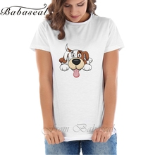 Babaseal Print Letter Vintage T Shirt Tie Dye Sequin Tshirt Tumblr Mom Cute Dog Cartoon T-shirts Floral All-match Women's Tops