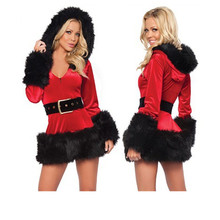 Miss Santa Claus Christmas Fancy Dress Costume Womens Velvet Dress sexy santa costumes Ladies Girls Outfit M L XL