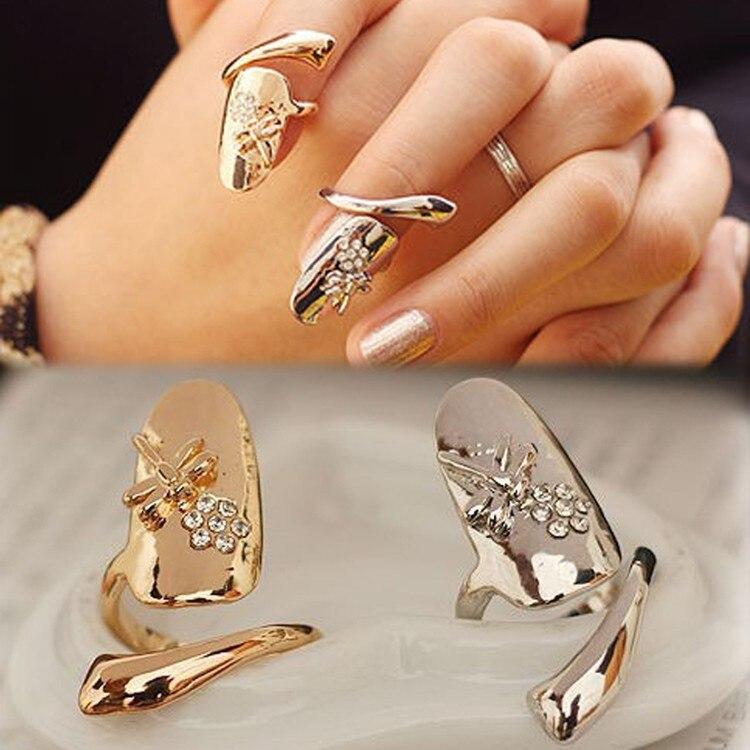 Cadena De Oro Plateado Rose diamante anillo doble banda dedo Nail Art Punta Garra