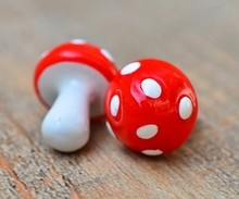 12mm Plastic Mushrooms Handmade Small Curio Gardening Decorations