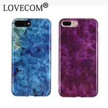 High Quality Fashion Crystal Blue Charm Purple IMD Marble Fundas Mobile Phone Cases For iPhone 6 6S Plus 7 7 Plus Cover YC1999