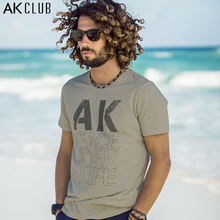 AK CLUB Brand T-shirt Cotton Peace Work Life AK LOGO Print T Shirt 100 Cotton Khaki Tshirt New York Designer Men T-shirt 1500037