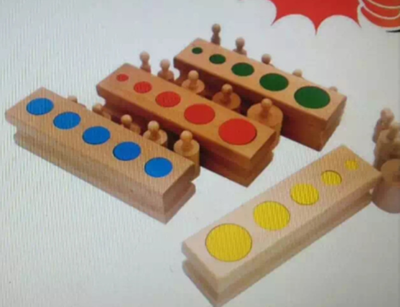 New Wooden Baby Toy Montessori Cylinder Blocks Toys 4 piece and  Colorful Knotless Cylinders Wooden Baby Gifts<br>