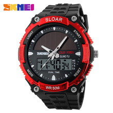 2016 New Energy Solar Watch Men's Digital Sports LED Watches Men Solar Power Dual Time Military Wristwatch Relojes Montre Homme(China)