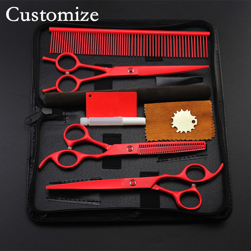 Customize 4 kit Upscale japan red Pet 7 inch shears dog grooming hair scissors thinning cutting barber bag hairdressing scissors<br>