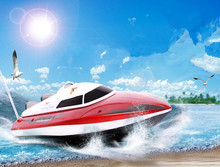 Free shipping rc boat DH-7009 2.4g 4ch double Motor High Speed racing boat Remote Control speed boat electric toy Gift for chil(China)