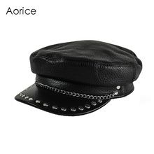 HL173-F genuine leather baseball cap hat  women's winter warm brand new cow skin leather newsboy black caps hats