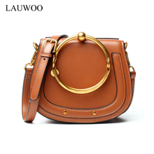 LAUWOO Women Brand Saddle Bag Women's Cowskin Metal circle handstrap shoulder Bag Ladies fashion Genuine Leather messenger bag(China)