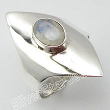 92.5%  Silver NATURAL RAINBOW MOONSTONE Ring Size 6 ! Gift For Fiance
