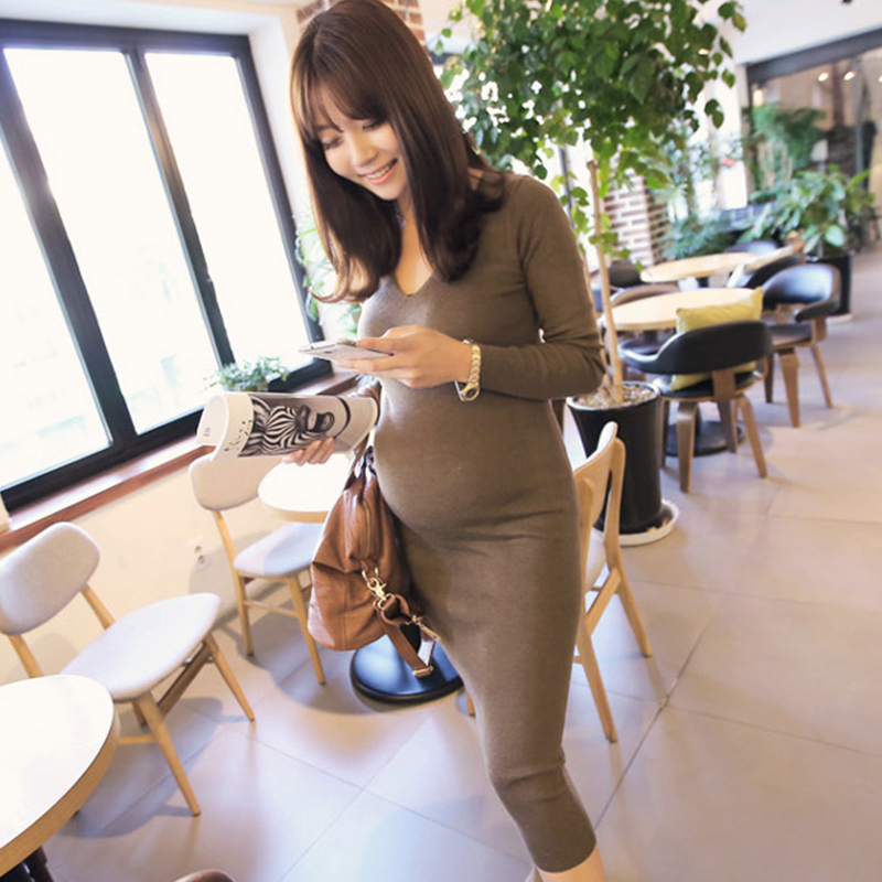 2017 autumn plus maternity dress clothes pregnant women warm knitted dresses pregnancy mothers flower outwear clothing<br>