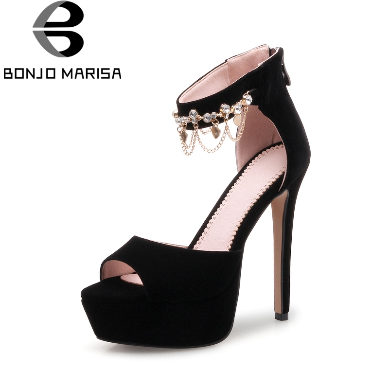 BONJOMARISA Dropshipping Shoes Women Brand Big Size 33-43 Peep Toe Thin high-heeled Chain Woman Shoes Sandals<br>