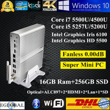 Mini computador Game PC 16GB Ram 256GB SSD Intel Core i7 5500U i5 5257U Graphics Iris 6100 Kodi 4K HD Mini HTPC 2 HDMI Display