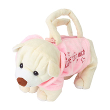 Cute Bear-Shape Plush Bag Handbag Purse for Children - Pink and Beige(China)