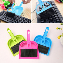 Desktop Cleaning Brush Broom Shovel Suit Mini Portable Plastic Dustpan Computer Keyboard Brush Set Cleaning Sweeper Z07 DropShip(China)