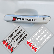 4PCS Styling RS SPORT Door Handle Decal Sticker Reflective for Audi A3 A4 A5 A6L A8 Q3 Q4 Q7 TT(China)