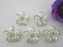 (BT42 27mm)10pcs New Fashion Clear Crystal Ivory Pearl Button Rhinestone Button Shank For Craft