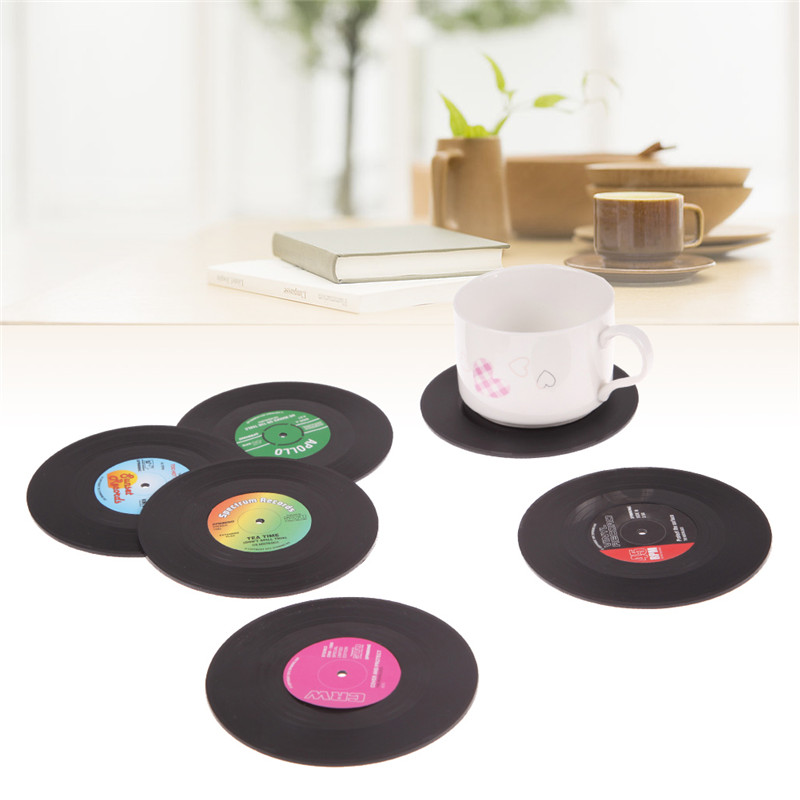 6pcs/lot Food Grade Retro Vinyl Plastic Coaster Novelty CD Record Tableware Mat Cup Cushion Drinks Holder Dining Home Decor(China)