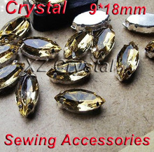 9x18mm 100pcs/lot Navette Crystals Light Coffee Strass Crystal with metal claws 4 holes Sewing  Accessories Jewerly Decoration