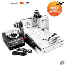 Free Shipping! 4 axis mini cnc Router 3040 Z-DQ with ball screw tool auto-checking instrument 4th rotary axis for 3d cnc