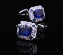 Free shipping Crystal Cufflinks 3 color gold blue purple rhinestone design hotsale copper material cufflinks whoelsale&retail(China)