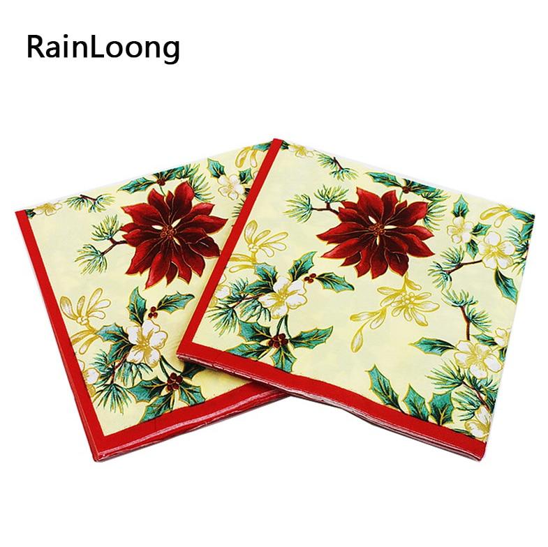 [Rainloong] Цветок Бумага салфетка бежевый праздничный и партия ткани салфетки Декупажные украшения Бумага 33 см 33 см 20 шт./упак./лот(China (Mainland))