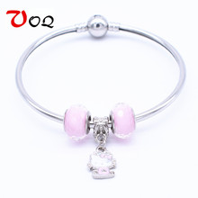 2016 New Fashion Romantic Murano Glass Bead Kitty Charm Bracelets For Women Girls Lovely Friendship Fine Jewelry Bangle Gift