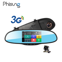 5.0in Touch 3G Wireless Car DVR Android 5.0 GPS Navigation Bluetooth Dual Lens dash cam rearview mirror camera dvr full hd 1080p(China)