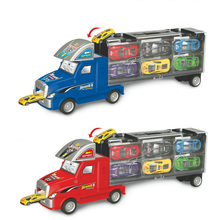 37cm Plastic Container Truck With 12 Mini Alloy Cars Model Diecast Model Car With Slot Function Toys For Children Gifts(China)