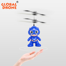 Global Drone Mini RC Flying Helicopter Remote Control Toys Spaceman Model Plastic Doll Kids Infrared Induction Electronic Toys(China)