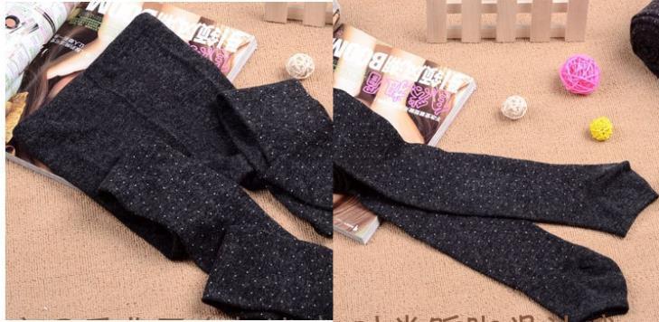 Women's Cotton Wool Leggings, Thicker Knitted, Sparkling Dot Design Autumn Legging 7