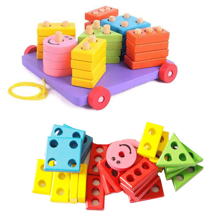 Candice guo wooden toy wood block mood pull cart board cannula pillar vehicle shape macth game birthday gift christmas present<br><br>Aliexpress