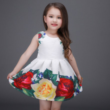 2017 new European and American foreign trade printing Puff Girls dress princess dress girls Banquet dress(China)