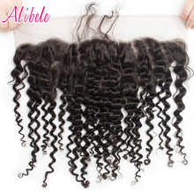 Alibele Indian Deep Curly Hair 13x4 Ear To Ear Lace Frontal Closure With Baby Hair Pre Plucked Natural Hairline Remy Human Hair(China)