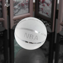 JQJ NBA Crystal Glass Basketball Model Figurine Craft Handmade Sphere 6 CM Ball Sports Fan ornaments Gift For Home Decoration(China)