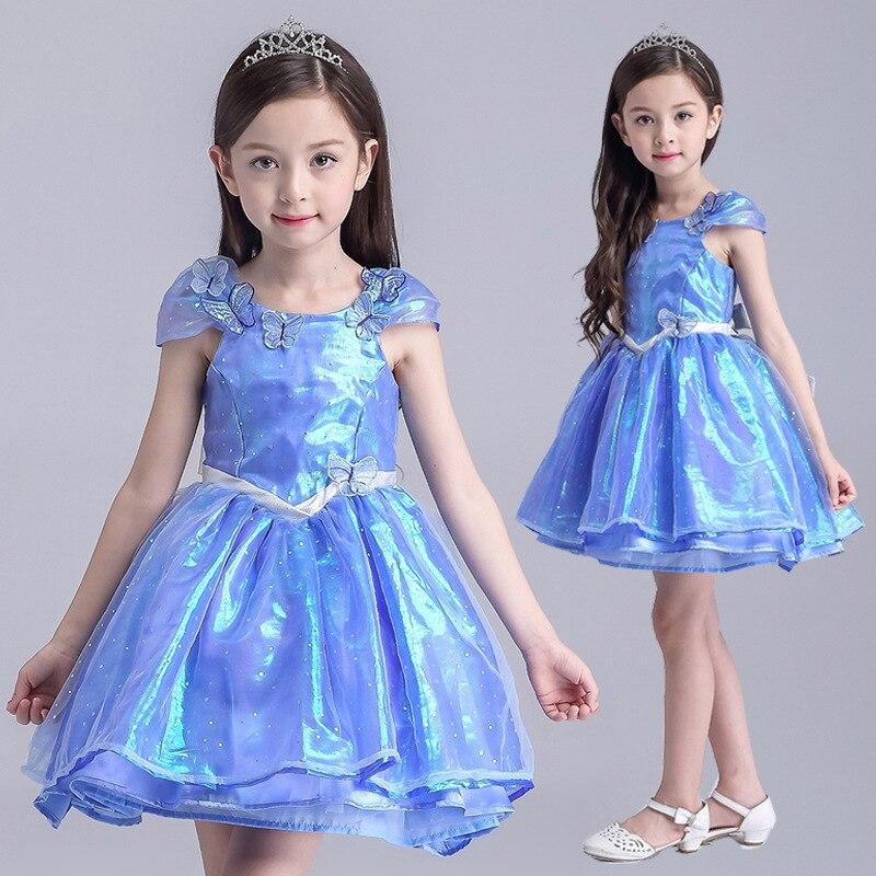 New Blue Cinderella Kids Dress Princesse Enfant Girl Sleeveless Dress With Butterfly Mesh Cinderella Cosplay Costume Dresses<br><br>Aliexpress