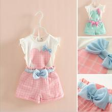 Casual Girls Clothes 2017 New Summer Children Clothing Sets Plaid Bow Kids Suit for Girls Heart Printed 3 4 5 6 7 8 Year Clothes