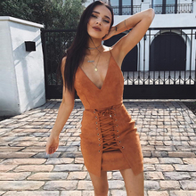 2017 New Summer Dress Women Celebrity Party Spaghetti Strap V-Neck Brown Suded Lace-up Hot Sexy Night Out Dress Women Vestidos(China)