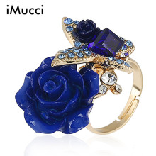 iMucci Retro Bohemian Alloy Rose Ring National Wind Butterfly Ring Fashion Accessories For Women 6 Colors