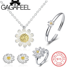 GAGAFEEL 100% 925 Sterling Silver Jewelry Set Daisy Flower White Enamel Sterling Silver Necklace Earrings Ring Bangle Jewelries(China)