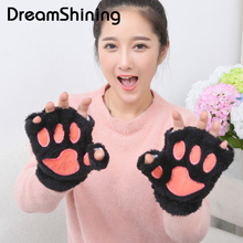 Hot Lady's Half Covered Wool Mittens Fluffy Bear Gloves Cat Cute Plush Paw Claw Glove Soft Toweling Warmer Finger Warm Winter(China)