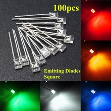 Best Promotion 100Pcs 2x3x4mm Wide Angle Flat Top Square LED Emitting Diodes Water Clear Transparent Light Lamp Rectangle