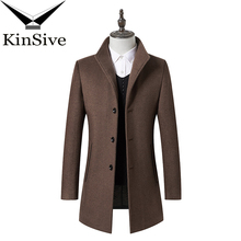 KinSive 2018 Autumn Winter Trench Coat Clothing Mens Long Wool Coat Top Cotton Male