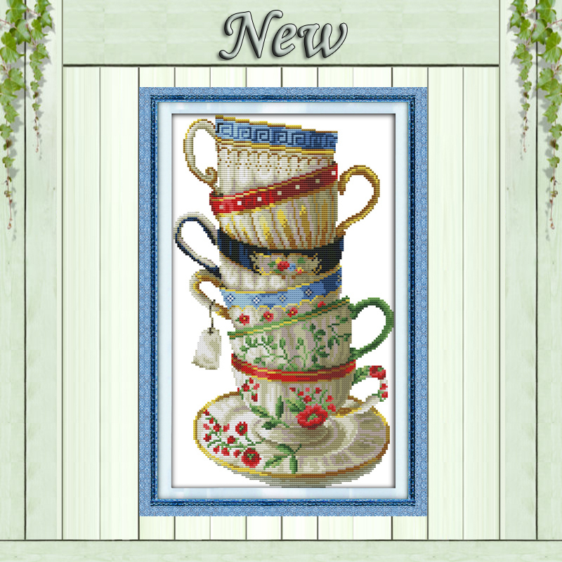 Elegant coffee cup,counted print on canvas DMC 14CT 11CT Cross Stitch kits,embroidery needlework Set,hand made Crafts Home Decor(China (Mainland))