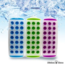 21 Round Holes Colorful Plastic Silicone Pop Out Bar Ice Cube Tray Maker Mold KK084