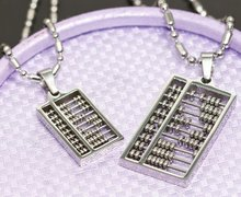 GOKADIMA Free Shipping Lovers 316l Stainless Steel Chinese Abacus Pendant Couple Necklace Jewelry Fashion Gift, Wholesale WP304