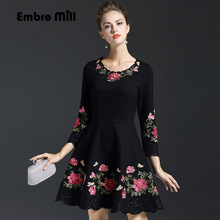 High quality black dress for women autumn & winter O-neck wrist sleese embroidery lady ball gown floral casual dresses M-3XL(China)