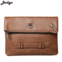 Fashion New Men's Brief Handbag Crazy Horse PU Leather Ipad Bag Shoulder Diagonal Clutch Trend Travel Messenger Envelope Bags