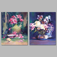2 Pieces/set Vases Pink White Rose Still Life Decoration Wall Art Pictures Canvas Paintings For Living Room Home Decor Unframed